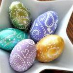 Set Of Five Paisley Eggs -..