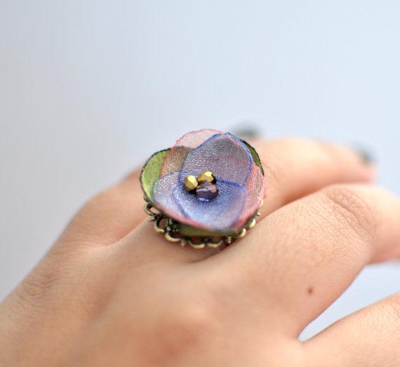 Bella - Adjustable Fabric Flower Ring by KimArt