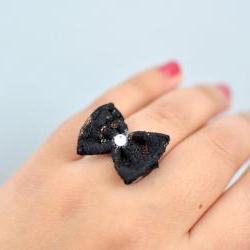 Black Tie Affair Bow Ring by KimArt - made to order